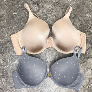 2 Bra Bundle Tan Lined & Grey Polka Dot 36B